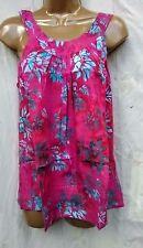 Round neck batik  Hawaii sleeveless top pleated muu  sun beach summer fuschia  M