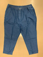 New! WOMAN WITHIN plus 28WT medium wash blue elastic pull-on jeans w/ pockets