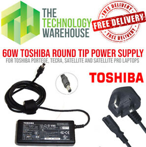Genuine Toshiba 60w Charger PSU - Round Tip 6.3mm*3mm - 15V 4A + Power Cable