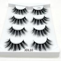 -4 Pairs 3D Mink Hair False Eyelashes Thick Crisscross Eye Lashes Wispy Natural-