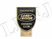 LAND ROVER OWNERS CLUB OVERSEAS NEW ORIGINAL BADGE PLATE BRONZE / BLACK CAST
