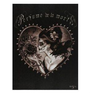 PERFUME DE LA MORT ALCHEMY SMALL GOTHIC CANVAS PICTURE ART PRINT HEART ROSE CROW