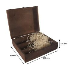 Brown Wooden Wine Box Holds 3 Bottles / Gift Holder / Hinges & Clasp / Craft