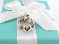 TIFFANY & CO SILVER HEART MESH RING SIZE 8 $275 BOX INCLUDED