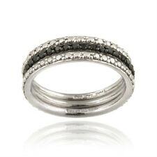 925 Silver 2/5ct Black Diamond Stackable Eternity Band Rings Set Size 10
