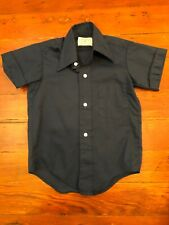 VTG 70s Boys Childs S/Sleeve Button Front Shirt Navy Blue S/7 KAYNEE NEXPANDER