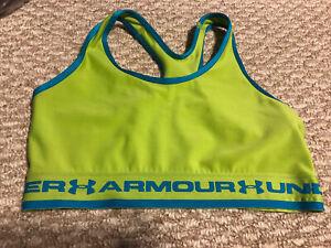 Youth Medium Girls Under Armour Sports Bra Green Blue