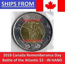 -SALE- 2016 Canada $2 The Battle of the Atlantic Rememberance Day Twoonie UNC