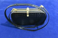 !!! RARE  rigid black and gold cocktail clutch, with strap  !!!