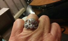 ZALES Pretty Round DIAMOND Cluster Ring TCW 1carat 14k white Gold Sz.9