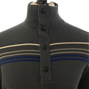 Banana Republic Mens Jumper X Large L Sleeve Sweater F Neck Pullover Grey Stripe
