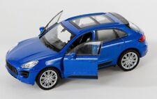 BLITZ VERSAND Porsche Macan Turbo blau / blue Welly Modell Auto 1:34 NEU & OVP