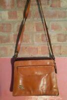 French Vintage Lorenzo Leather Brown Tan Handbag Shoulder Bag Satchel Prop