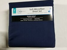 Twin Bed Sheet Set, Navy, Blue High Quality Solid Microfiber Ultra Soft, Nwt