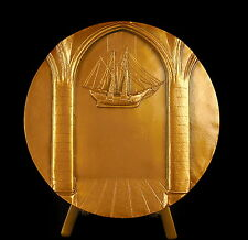 Médaille allégorie la navigation R Delamarre voilier ship bateau 90mm 407g medal