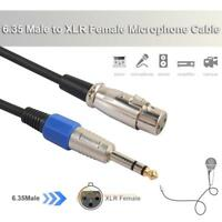1/4in Jack 3 Pin 6.35mm Stereo Male to XLR Female Microphone Speaker Audio Cable
