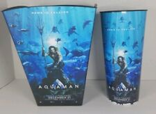 Dc -Aquaman Movie Promotion Popcorn Bucket & 44oz Cup Plastic Euc