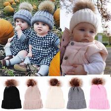 Children Kids Baby Boys Girls Winter Knitted Beanie Ski Hat Faux Fur Bobble Pom