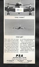 PSA PACIFIC SOUTHWEST LOCKHEED ELECTRA JETS EASY COME AND GO 300 FLTS 1964 AD