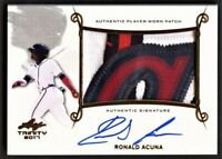 Ronald Acuna Jr 2017 Leaf Trinity Game Used Auto Patch RC Hot MVP Logo Invest!