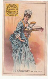 Fleischmann & Co Yeast Maid in Blue Dress Holding Tray Vict Card c1880s