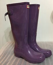 Nwob Hunter Women Purple Sparkling Shiny Gloss Rain Boots Size 9