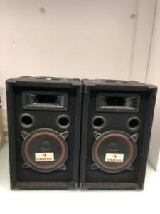 black auna speakers and 2 pro stand speakers stands