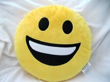 "12"" Smiling with Teeth+Black Eyes Emoji Round Soft Emoticon Stuffed Plush Pillow"