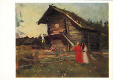 1965 Russian postcard TWO YOUNG WOMEN IN FRONT OF THE BARN by K.Korovin