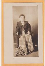 Studio Real Photo Postcard Rppc - Boy with Easter Treats