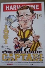 1961 GRAHAM ARTHUR HAND SIGNED Harv Time PREMIERSHIP CAPTAIN PRINT HAWTHORN