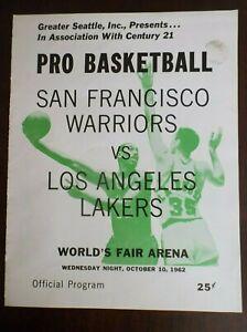 WILT CHAMBERLAIN PRO BASKETBALL OFFICIAL PROGRAM 1962 WORLD FAIR ARENA WARRIORS