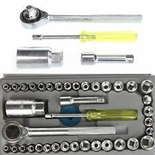 """40 Car Socket Adaptors Set 1/4, 3/8"""" Drive Ratchet Wrench Reversible Repair Kit"""