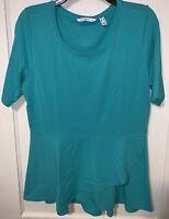 Isaac Mizrahi LIVE vivid teal elbow sleeve peplum flounce knit top Size Small