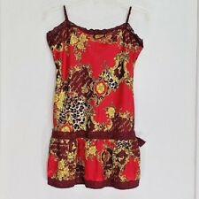 Baby Phat Shorty Nightgown Lingerie Size Large Adjustable Straps Red Floral