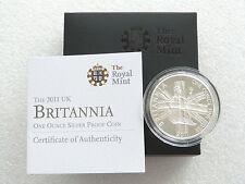 2011 Gran Bretaña Britannia £ 2 dos libras moneda de plata prueba 1 OZ (approx. 28.35 g) Caja cert. de autenticidad