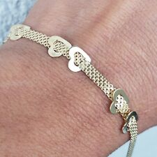 Solid womans solid 14k yellow gold hearts Bracelet 7.5 inch long