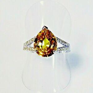 Handarbeit Edler 4,50 CT Tropfen AAA Saphir Damen Ring 925er Silber 18,6 mm 58,5