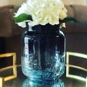 Stylish Navy Blue Ombre Decorative Crackle Glass Jar Vase House Ornament 23cm