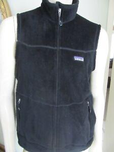 Patagonia Mens Fleece R2 Polartec Vest Full Zip Pockets Black SZ M