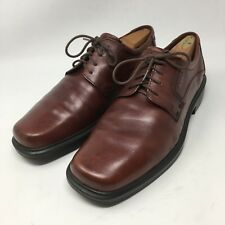 ECCO Mens Burgundy Leather Plain Toe Casual Oxford Shoes EUR 45 US 11-11.5