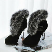 Winter Women Fashion Ankle Boots High Heels Shoes Warm Suede Faxu Fur Shoes New