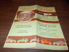 1920s Air Line Route Boston/Waterbury/New York Vintage Road Map & Guide