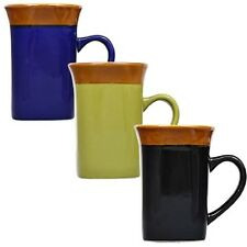 MUGS!STONEWARE,COFFEE,TEA,ETC,SQUARE SHAPED,THREE(3)!!!NWT,HEFTY,FREE SHIPPING!