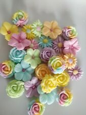 Edible Unicorn Sugar rainbow colour mixed flowers (24  per set) cake toppers