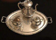 Antique Mexican 925 Sterling Silver Tea Set (Tea Pot, Sugar, Creamer and Tray)