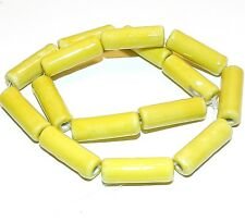 CPC359 Yellow 26mm Round Tube Porcelain Beads 15""