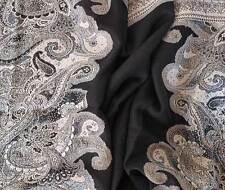 Black & Shades of Gray Wool Jamavar Scarf Paisley Jamawar India Wrap Pashmina