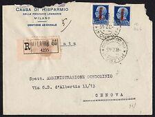 STORIA POSTALE RSI 1945 Raccomandata da Milano per Genova (FS1)