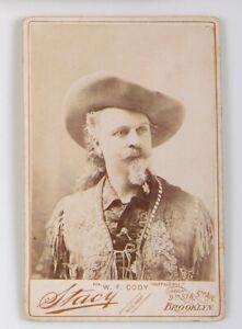 ca1895 BUFFALO BILLS WILD WEST CABINET CARD PHOTO BILL CODY IN BUCKSKIN By STACY